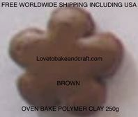 Polymer clay.  250g. Oven bake polymer clay, Brown, Flesh, figurine clay,  Free worldwide shipping